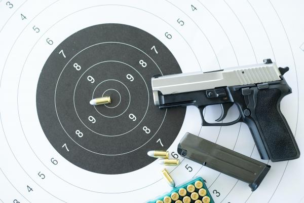 Pistol on target with ammo