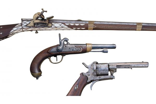 Antique Flintlock rifle and Percussion pistols