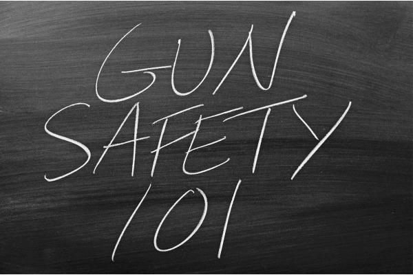 chalkboard at gun safety course