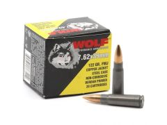 762WCFMJ Wolf Performance 7.62x39mm 122 Grain Copper Jacket Steel Cased FMJ