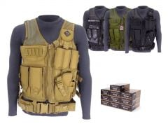 9MM-AD-TV-01-5200500 Blazer Brass 9mm 115 Grain FMJ RTAC Tactical Vest Combo