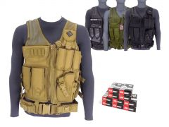 9MM-AD-TV-01-ZQI124GRST500 ZQI 9mm 124 Grain FMJ Steel Cased RTAC Tactical Vest Combo