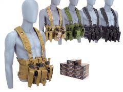 9MM-CHESTRIG-5200500 Blazer Brass 9mm 115 Grain FMJ RTAC Chest Rig Combo