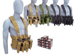 9MM-CHESTRIG-9X19WFMJ500 Wolf Polyformance 9mm 115 Grain FMJ RTAC Chest Rig Combo