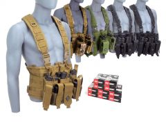 9MM-CHESTRIG-ZQI124GRST500 ZQI 9mm 124 Grain FMJ Steel Cased RTAC Chest Rig Combo