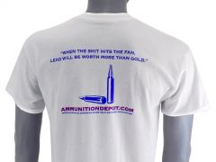 Ammunition Depot T-Shirt - White, R Rated (L)