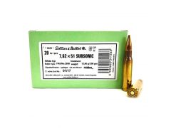 SB308SUBB Sellier & Bellot 7.62x51 200 Grain Subsonic FMJ (Case)