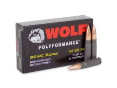 300BLKFMJ1 Wolf Polyformance 300 Blackout 145 Grain FMJ