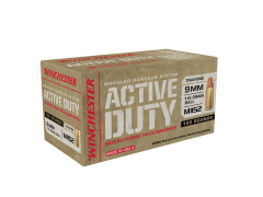 Winchester Active Duty 100 Rounds 9mm 115 Grain M1152 Flat-Nose FMJ Ammo