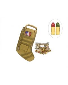 US Cartridge CleanBarrel™ 9mm 115 Gr Red & Green TPJ - 250 Rounds in Tactical Stocking (Tan)