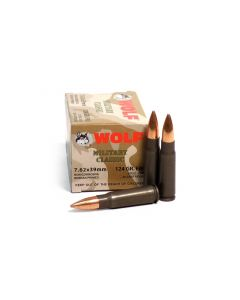 Wolf Military Classic 7.62x39 FMJ 124 Grain Ammo - 20 Round Box
