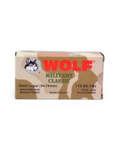 Wolf Military Classic 9mm Luger 115 Grain FMJ