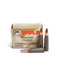 Wolf Military Classic 7.62x39 124 Grain HP Ammo - 20 Round Box