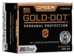 23980GD Speer Gold Dot Personal Protection 44 Special 200 gr HP