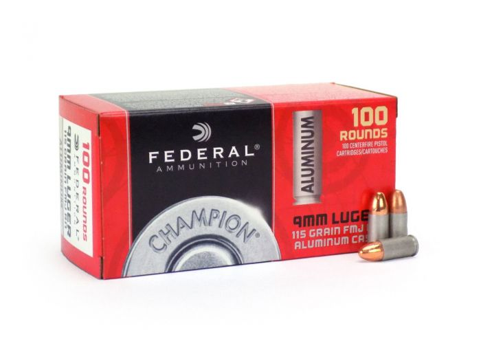 Federal Champion Aluminum 9mm 115 Grain FMJ CAL9115 Ammo